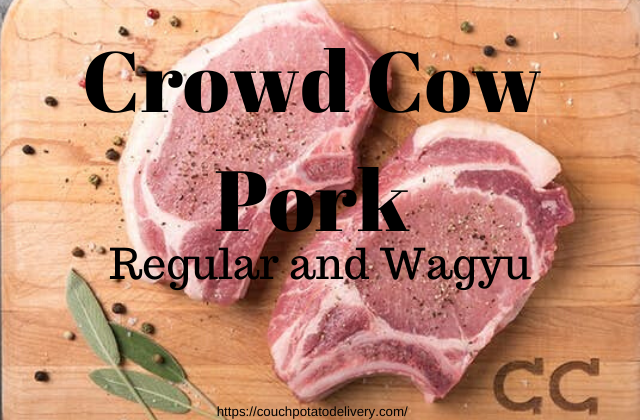 crowd cow pork chops on a table with seasoning