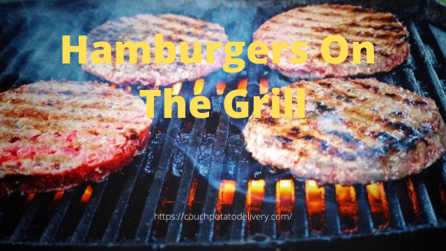 Ground beef hamburgers on the grill.