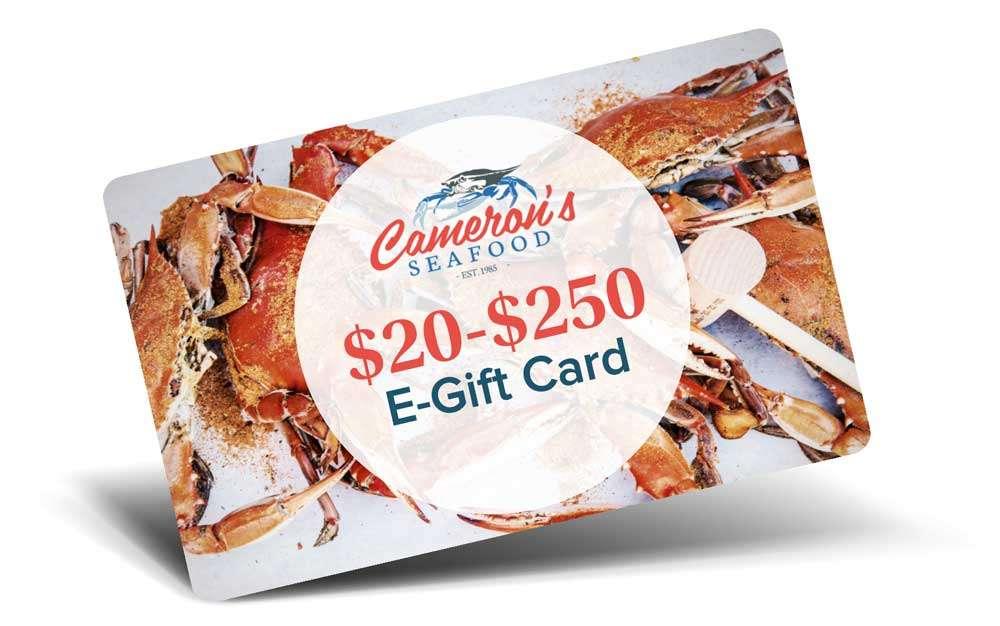 Camerons seafood gift card
